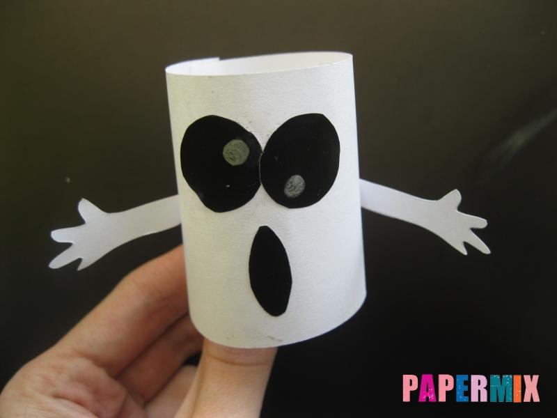 Как сделать объемное привидение из бумаги на хэллоуин - шаг 7