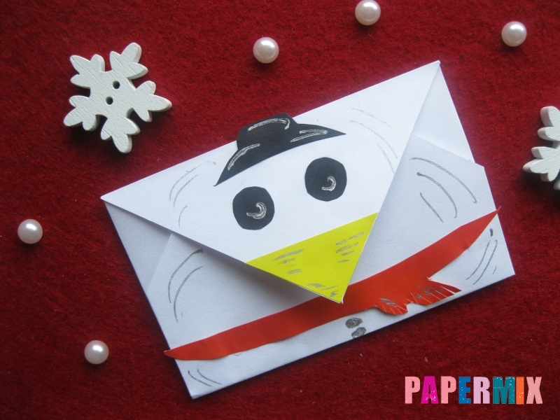 Конверт в виде снеговика из бумаги своими руками - шаг 19