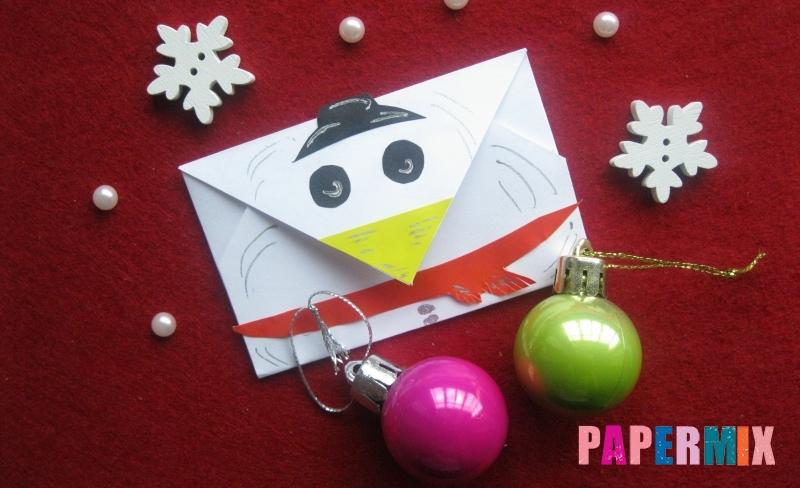 Как сделать конверт в виде снеговика из бумаги своими руками поэтапно