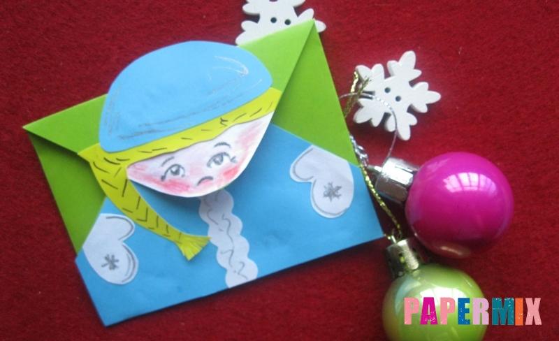 Как сделать конверт в виде Снегурочки из бумаги своими руками поэтапно