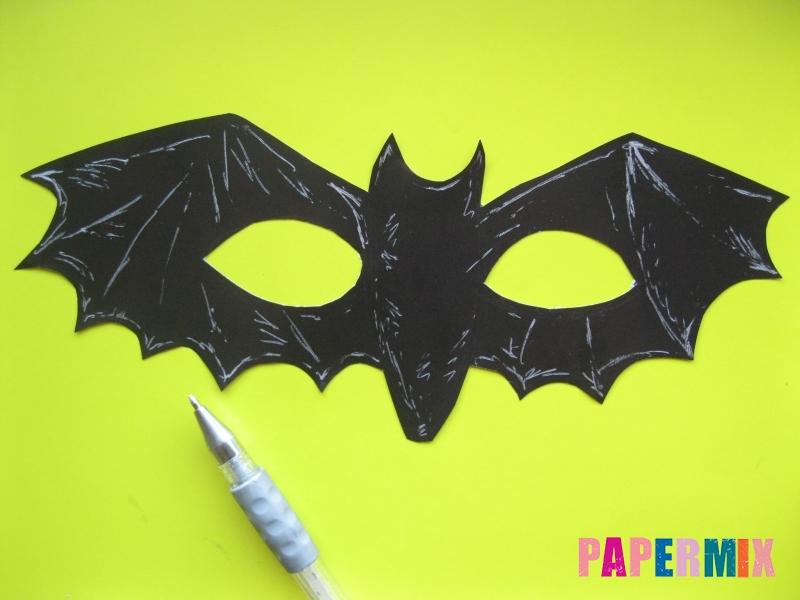 Маска летучей мыши на хэллоуин из бумаги своими руками - шаг 4