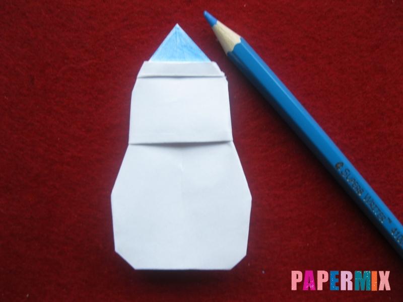 Оригами снеговик из бумаги своими руками - шаг 24
