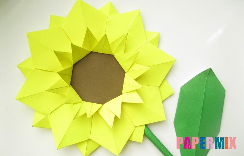 Как сделать подсолнух в технике оригами своими руками поэтапно