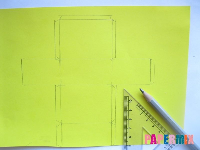 Как сделать параллелепипед из бумаги схема - шаг 1