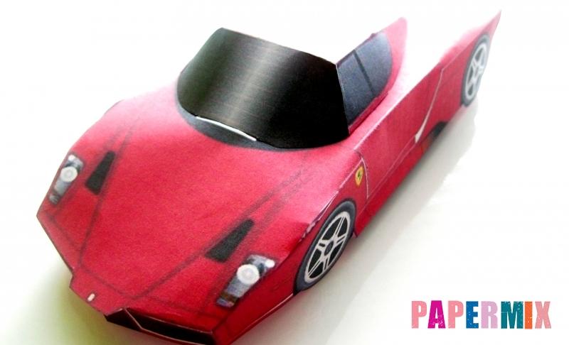 Как сделать объемный автомобиль Ferrari по шаблону из бумаги своими руками
