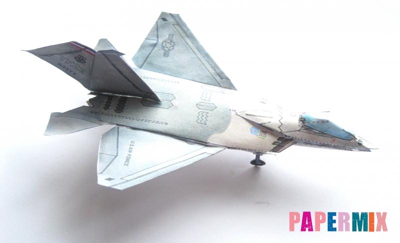 Как сделать объемный самолет F-22 Lightning II по шаблону из бумаги своими руками