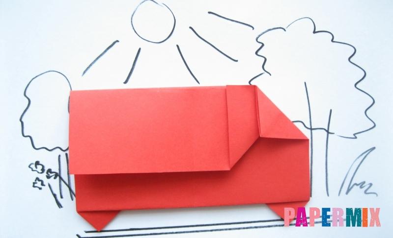 Как сделать самосвал из бумаги в технике оригами своими руками поэтапно