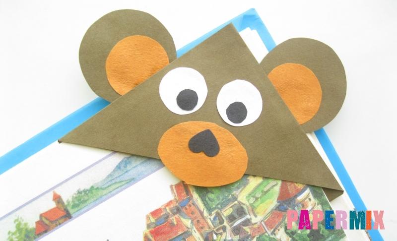 Как сделать закладку в форме мордочки мишки из бумаги своими руками