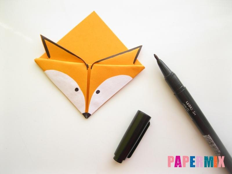 Как сделать закладку виде мордочки лисички из бумаги - шаг 14