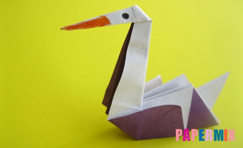 Как сделать аиста из бумаги в технике оригами своими руками поэтапно