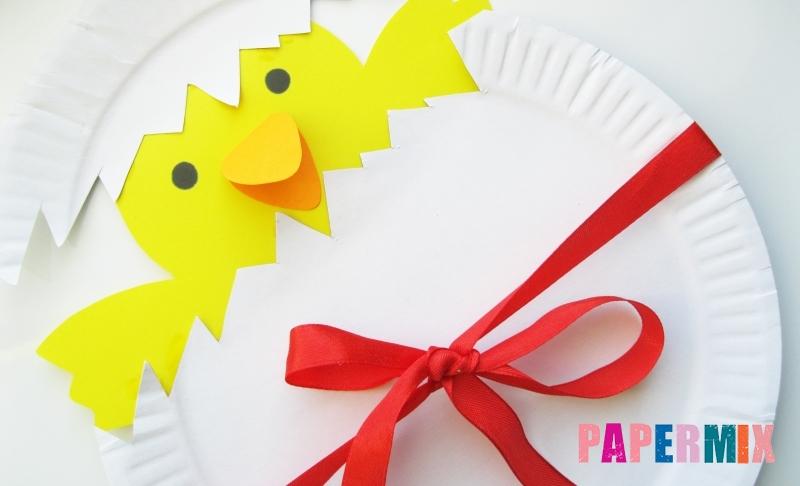Как сделать цыпленка в яйце из цветной бумаги и тарелки своими руками