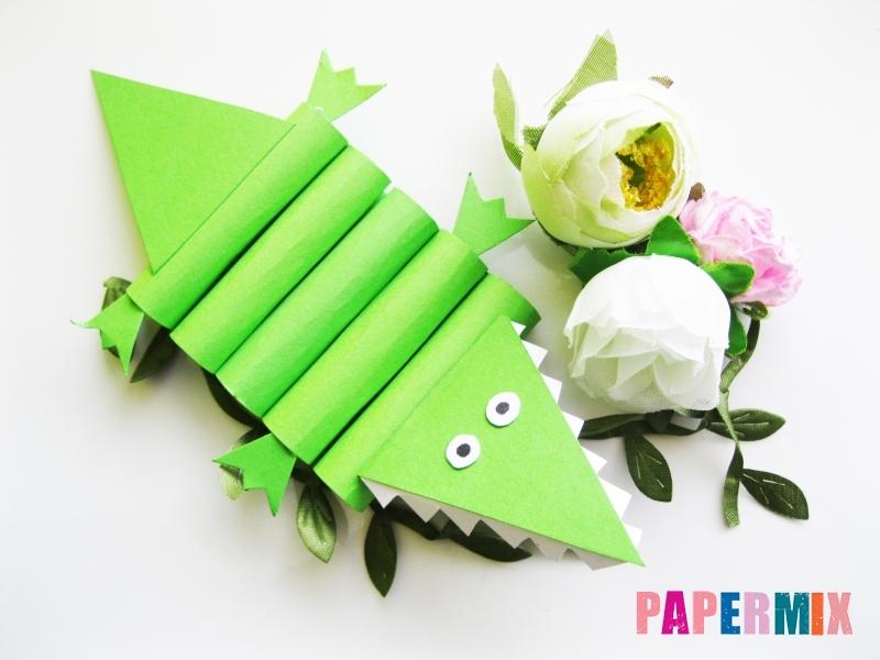 Как сделать крокодила из цветной бумаги своими руками - шаг 16
