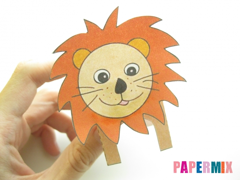 Как сделать объемного льва по шаблону из бумаги - шаг 5