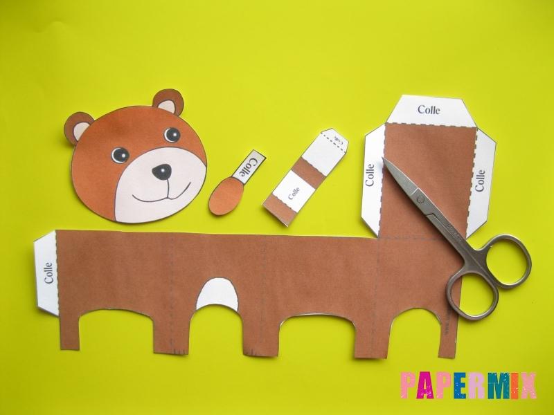 Как сделать объемного медведя по шаблону из бумаги - шаг 1