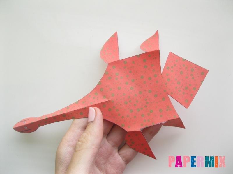 Как сделать объемного Плезиозавра по шаблону из бумаги - шаг 5