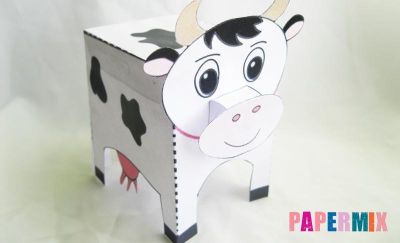 Как сделать объемную корову по шаблону из бумаги своими руками