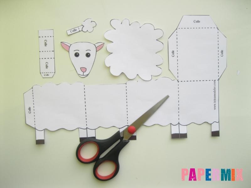 Как сделать объемную овечку по шаблону из бумаги - шаг 1