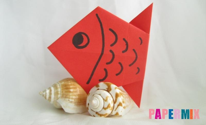 Как сделать рыбу из цветной бумаги в технике оригами своими руками